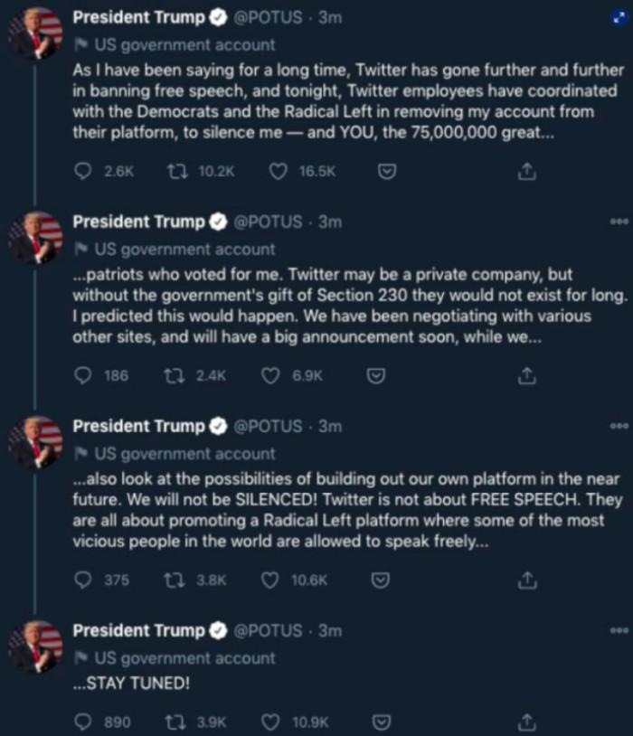 Trump reacciona al bloqueo de Twitter desde @POTUS; acusa coordinación de la red social con demócratas 1